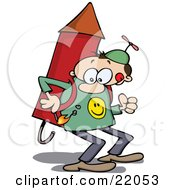 Clipart Illustration Of A Determined Man In A Propeller Hat Holding A Lit Match To The Fuse Of The Rocket Strapped On His Back