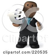 Royalty Free RF Clipart Illustration Of A 3d Black Business Man Facing Front And Holding Up A Chrome Euro Symbol by Julos