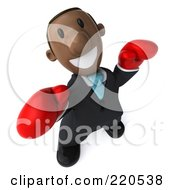 Royalty Free RF Clipart Illustration Of A 3d Black Business Man Wearing Boxing Gloves And Looking Up by Julos
