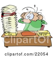 Clipart Illustration Of A Stressed Out Caucasian Employee Man Eyeing A Giant Stack Of Paperwork On His Desk