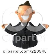 Royalty Free RF Clipart Illustration Of A 3d Business Toon Guy Smiling And Meditating