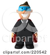 Royalty Free RF Clipart Illustration Of A 3d Business Toon Guy Super Hero Facing Front