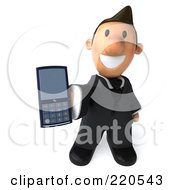 Royalty Free RF Clipart Illustration Of A 3d Business Toon Guy Holding A Mobile Phone by Julos