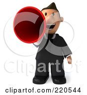 Royalty Free RF Clipart Illustration Of A 3d Business Toon Guy Speaking With A Red Megaphone