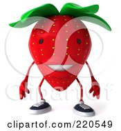 Royalty Free RF Clipart Illustration Of A 3d Strawberry Facing Front by Julos