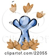 Clipart Picture Illustration Of A Carefree Blue Man Tossing Up Autumn Leaves In The Air Symbolizing Happiness And Freedom by Leo Blanchette