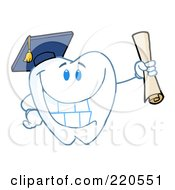 Royalty Free RF Clipart Illustration Of A Tooth Character Graduate Holding A Diploma