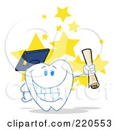 Royalty Free RF Clipart Illustration Of A Tooth Character Grad Holding A Diploma Over Stars