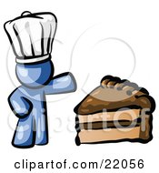 Blue Chef Man Wearing A White Hat And Presenting A Tasty Slice Of Chocolate Frosted Cake