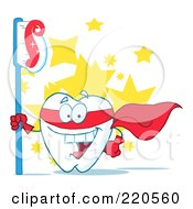 Royalty Free RF Clipart Illustration Of A Tooth Character Superhero With A Tooth Brush And Paste Over Stars by Hit Toon