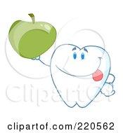 Royalty Free RF Clipart Illustration Of A Tooth Character Smiling And Holding Up A Green Apple