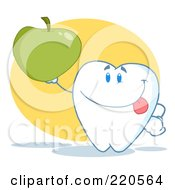 Royalty Free RF Clipart Illustration Of A Tooth Character Holding Up A Green Apple