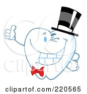 Royalty Free RF Clipart Illustration Of A Tooth Character Gentleman Wearing A Top Hat And Holding A Thumb Up