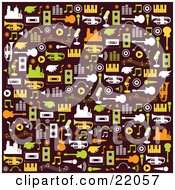 Brown Background With White Green Orange And Yellow City Buildings Wings Cassette Tapes Speakers Music Notes Guitars Pianos And Trumpets