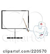 Royalty Free RF Clipart Illustration Of A Tooth Character Pointing To A Blank Board by Hit Toon