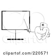 Royalty Free RF Clipart Illustration Of An Outlined Tooth Character Pointing To A Blank Board
