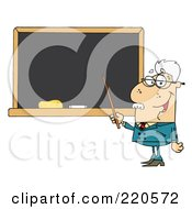 Royalty Free RF Clipart Illustration Of A Senior Male Professor Pointing To A Chalk Board by Hit Toon