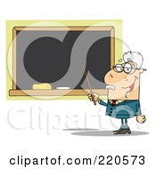 Royalty Free RF Clipart Illustration Of A Senior Male Professor Holding A Pointer To A Chalk Board
