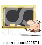 Royalty Free RF Clipart Illustration Of A Middle Aged Balding Male Professor Pointing To A Chalk Board