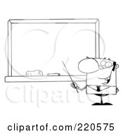 Royalty Free RF Clipart Illustration Of An Outlined Middle Aged Male Professor Pointing To A Chalk Board