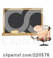 Royalty Free RF Clipart Illustration Of A Middle Aged Male Professor Pointing To A Chalk Board