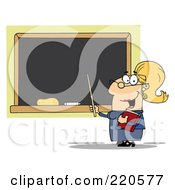 Royalty Free RF Clipart Illustration Of A Middle Aged Blond Female Professor Pointing To A Chalk Board