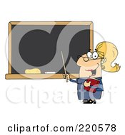 Royalty Free RF Clipart Illustration Of A Middle Aged Female Professor Pointing To A Chalk Board