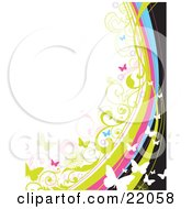 Clipart Illustration Picture Of A Web Site Background Of White Green Pink And Blue Butterflies Fluttering Over Black Blue Pink And Green Vines And Stripes On White