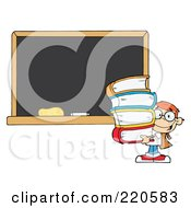 Royalty Free RF Clipart Illustration Of A Red Haired School Boy Carrying Books By A Blank Chalk Board by Hit Toon
