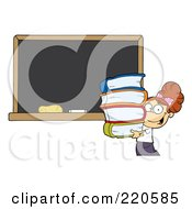 Royalty Free RF Clipart Illustration Of A Brunette School Girl Carrying Books By A Blank Chalk Board
