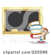 Royalty Free RF Clipart Illustration Of A Red Head School Boy Carrying Books By A Blank Chalk Board by Hit Toon