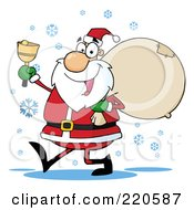 Royalty Free RF Clipart Illustration Of A Jolly Santa Holding A Sack Over His Shoulder Walking In The Snow And Ringing A Bell