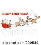 Royalty Free RF Clipart Illustration Of A Merry Christmas Greeting Over A Team Of Reindeer And Santa In His Sleigh Flying by Hit Toon