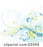 Clipart Illustration Picture Of A Web Site Background Of Green And Blue Butterflies Flying Over Yellow And Blue Floral Vines With Grunge Texture