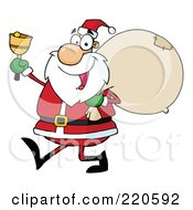 Jolly Santa Holding A Sack Over His Shoulder Walking And Ringing A Bell by Hit Toon