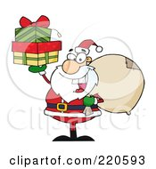 Jolly Santa Holding A Sack Over His Shoulder And Gifts Up In His Hand by Hit Toon