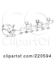 Royalty Free RF Clipart Illustration Of An Outlined Team Of Reindeer And Santa In His Sleigh Flying
