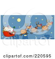 Royalty Free RF Clipart Illustration Of A Team Of Reindeer And Santa In His Sleigh Flying Above A City
