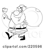 Royalty Free RF Clipart Illustration Of An Outlined Jolly Santa Holding A Sack Over His Shoulder Walking And Ringing A Bell
