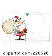 Royalty Free RF Clipart Illustration Of A Jolly Santa Holding A Sack Over His Shoulder And Holding Up A Blank Sign Board