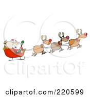 Royalty Free RF Clipart Illustration Of A Team Of Reindeer And Santa In His Sleigh Flying by Hit Toon
