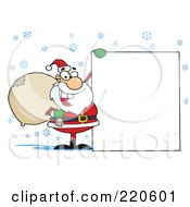 Royalty Free RF Clipart Illustration Of A Jolly Santa Holding A Sack Over His Shoulder And Holding Up A Blank Sign In The Snow