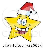 Royalty Free RF Clipart Illustration Of A Happy Christmas Star Wearing A Santa Hat by Hit Toon