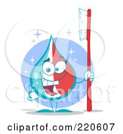 Royalty Free RF Clipart Illustration Of A Happy Striped Tooth Paste Drop Holding A Tooth Brush