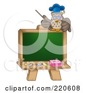Royalty Free RF Clipart Illustration Of A Professor Owl On Top Of A Blank Chalk Board