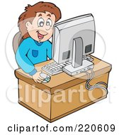 Royalty Free RF Clipart Illustration Of A Happy Brunette Boy Using A Desktop Computer To Surf The Web by visekart