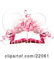 Clipart Illustration Picture Of A Pink And Red Toned Background Of An Open Book With White Pages With Pink Paint Splatters Vines And Bursts On White