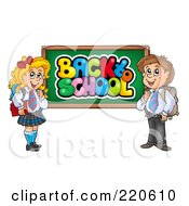 Royalty Free RF Clipart Illustration Of A Private School Boy And Girl By A Back To School Chalk Board by visekart