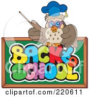 Royalty Free RF Clipart Illustration Of A Professor Owl Over A Back To School Chalk Board