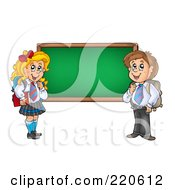 Royalty Free RF Clipart Illustration Of A Private School Boy And Girl By A Blank Chalk Board